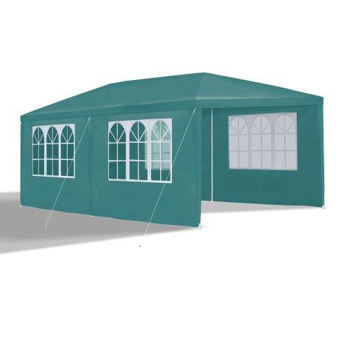 JOM 127145 Carpa de jardín, 3 x 6 m, con 6 Paredes Laterales, 4 con Ventana y 2 Cerradas, Conectores de plástico, con piquetas y Cables, Verde
