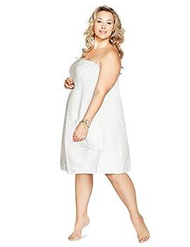 Plus Size Luxury Spa Wrap 1X-6X Bath Beauty Shower Towel Swim Cover Up Wrap Cotton Terry Velour with Snaps 1X 2X 3X 4X 5X 6X  Eternity White 4XL 3X-4X