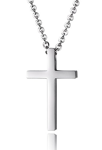 Reve Simple Stainless Steel Silver Tone Cross Pendant Chain Necklace for Men Women, 20-22 Inches (Women:1.20.7'' Pendant+20'' Chain)