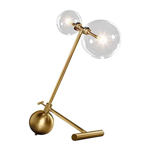 Lámpara para escritorio LED de luz magnética portátil posmoderna bola de vidrio de hierro LED lámparas de mesa dormitorio iluminación nórdico estudio lectura luces (color: A)