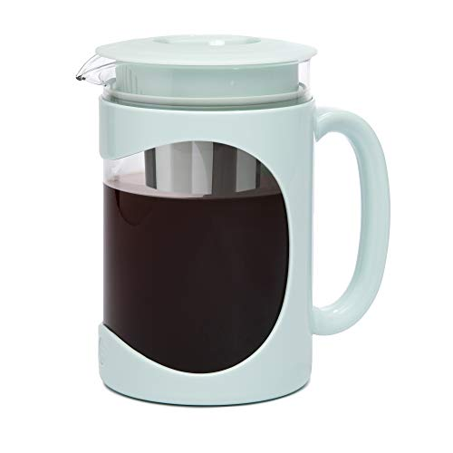 Primula Burke Deluxe Cold Brew Iced Coffee Maker, Comfort Grip Handle, Durable Glass Carafe, Removable Mesh Filter, Perfect 6 Cup Size, Dishwasher Safe, 1.6 Qt, Aqua