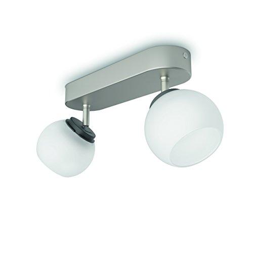 Philips Lighting Balla Barra 2 Faretti LED, Acciaio Spazzolato 2 x 4W, Nickel