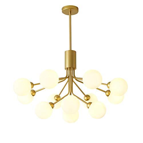 Moderno G9 Sputnik Lámpara De Araña Iluminación Accesorios 12 Luz Latón Cepillado Ramas Lámpara De Techo Mid Century Lámpara Colgante Golpe De Mano Vidrio Pantalla Dorado 12 Luz