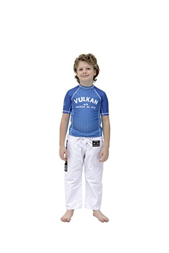 Vulkan Fight Company Brazilian Jiu Jitsu, Kids' BJJ Challenge First Short-Sleeve Rashguard for Martial Arts Sports, Blue, Size 14