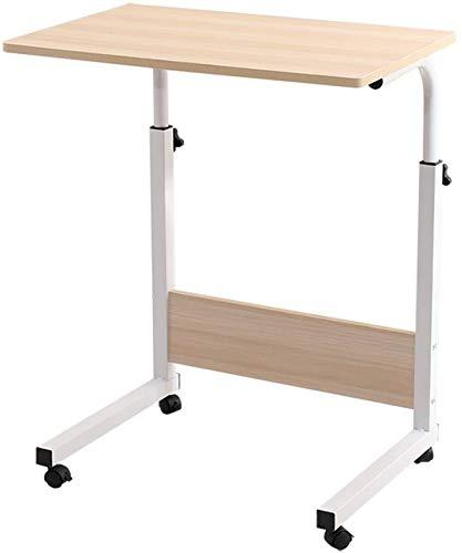 HOMRanger Mobile Laptop Desk Stand Computer da Tavolo Altezza Regolabile Writing Desk Mobile Care Tabella Portatile Comodino Pulley, Color Legno (Dimensioni: 60x40cm)