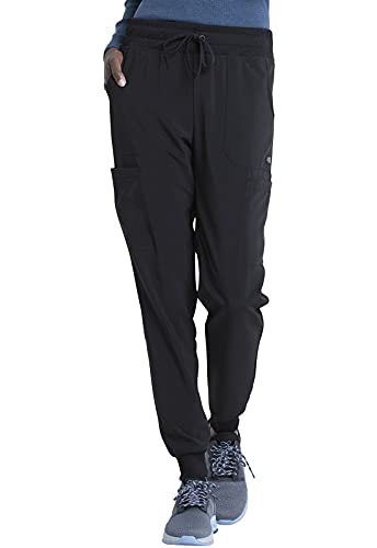 Dickies EDS Essentials Women Scrubs Pant Mid Rise Jogger DK065, S, Black