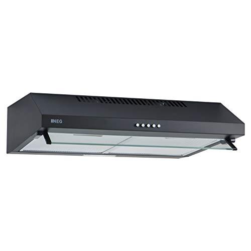 NEG Dunstabzugshaube NEG15-ATB+ (schwarz) Edelstahl-Unterbau-Haube mit Doppelmotor (Abluft/Umluft) und LED-Beleuchtung (60cm) Unterschrank- oder Wandanschluss