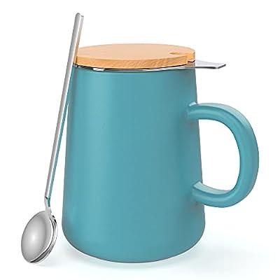 J-FAMILY Porcelain Tea Mug with Infuser and Lid,Tea Mug with Steeper for Loose Leaf Tea Steeping,15 OZ,Matte Light Blue
