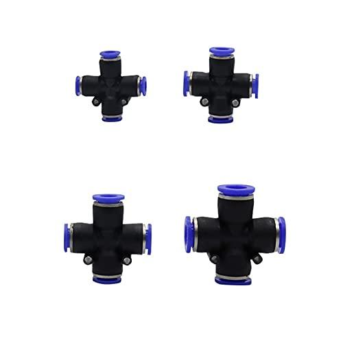 Conexión de agua de pulverización Conector de bloqueo deslizante Conector cruz 6/8/10 / 12mm Diámetro exterior Conector de manguera con conector de tubo neumático Spray de jardín Spray de enfriamien