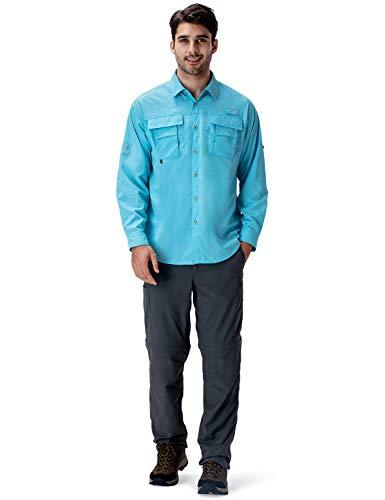 Naviskin Men's UPF 50+ Sun Protection Hiking Shirt Lightweight Quick Dry Outdoor Fishing Long Sleeve Shirts Regular Fit Blue Size S
