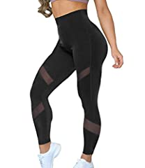 ❤ UNIQUE MESH DESIGN - These SuperHot leggings exude confidence, sensuality and strength! The sheer mesh panels will keep you cool while jogging on the sidewalk. Best gift for Thanksgiving Day, Wife, girlfriend, friend! ❤ HIGH RISE - Yoga pants are d...
