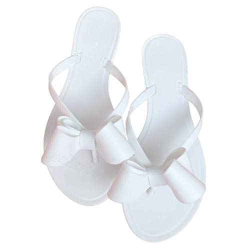 Mtzyoa Women Rivets Bow Flip-Flops Sandals Beach Flat Rain Jelly Shoes White