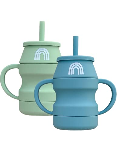 Hippypotamus Silicone Transition Cups For Toddlers - Tiny Cup With Straw & Lid - Removable Handles - 6 oz - Set of 2 (Sage / Fog)