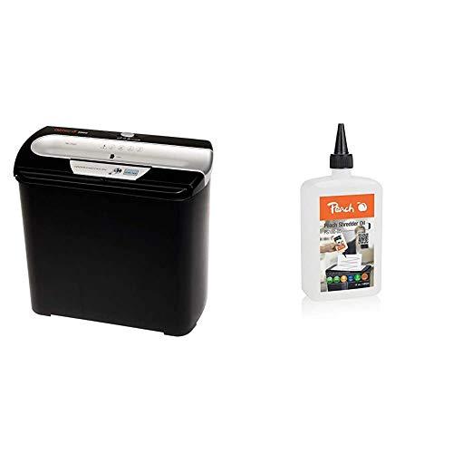 Genie 255 CD Aktenvernichter, bis zu 7 Blatt, Streifenschnitt (Sicherheitsstufe P-1), mit CD-Shredder, schwarz/silber & Peach Aktenvernichter-Öl |Inhalt 355 ml | die Pflege für Ihren Aktenvernichter