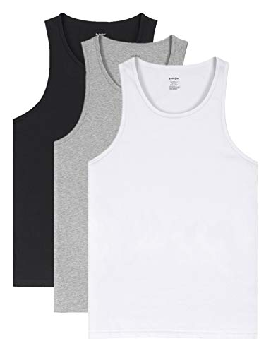 Indefini Men's Cotton Sleeveless Undershirts Fitted Tank Tops Crew Neck A-Shirts, 3 Pack - Black, White & Grey - L