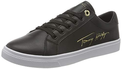 Tommy Hilfiger, TH Signature Cupsole Sneaker Donna, Nero, 38 EU