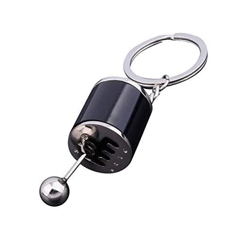 XuBa Llavero de metal antiestrés para coche creativo, 6 velocidades, caja de cambios, juguete para cambio de carreras, modelo de afinación, llavero de novedad para coche, color negro