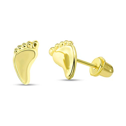 Solid 14k Yellow Gold Mini Feet Stud First Step Symbols Earrings with...