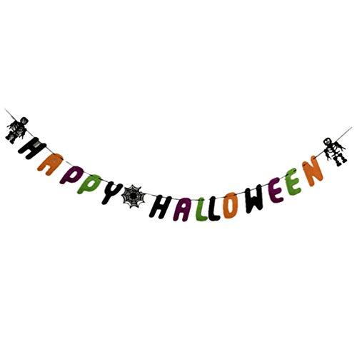 Amosfun 1 Stück Happy Halloween Party Banner Letter Dekoration Banner Totenkopf Spinnennetz Wimpelkette Party Supplies