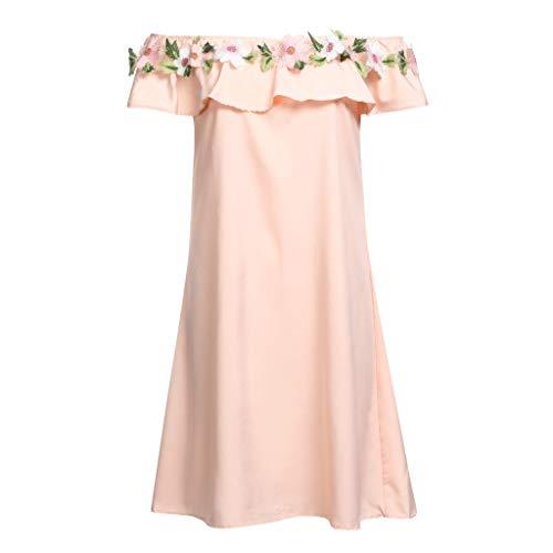 DQANIU ❤️❤️ Mama Tochter Frauen Blume Schulterfrei Kleid Dame Familie Passende Kleidung, Kleinkind Baby Kinder Mädchen Floral Riemen Kleid Outfits Familie Kleidung