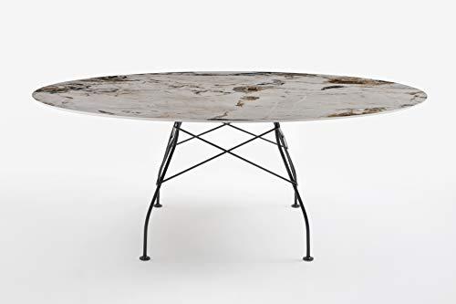 Kartell Tavolo da Pranzo Ovale, Glossy 4573MS, Gres Bianco Finitura Marmo Marrone, H72xL192xP118cm