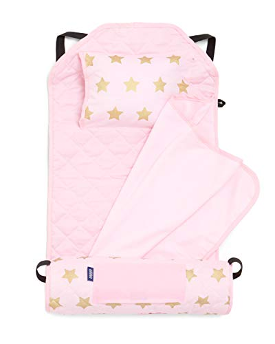 Wildkin All-In-One Modern Nap Mat with Pillow for Toddler Boys and Girls, Ideal for Daycare and Preschool, Features Elastic Corner Straps Cotton Blend Materials, Olive Kids (Stars)