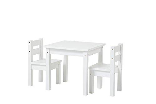 Hoppekids 1 x Kindertisch und 2 x Kinderstühle, teilmassiv, Holz, Weiss, 55 x 50 x 47 cm