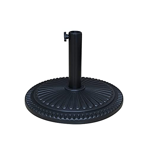 Ram® Black 10kg Heavy Duty Round Base Patterned Leaf Effect Parasol Base Umbrella Canopy Stand