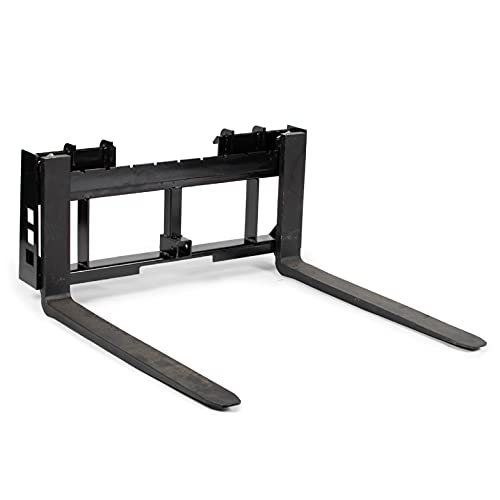 Titan Attachments Skid Steer 42 in Pallet Fork Frame 2 in Trailer Hitch Receiver for Bobcat Case Kubota 3 Point Tractor