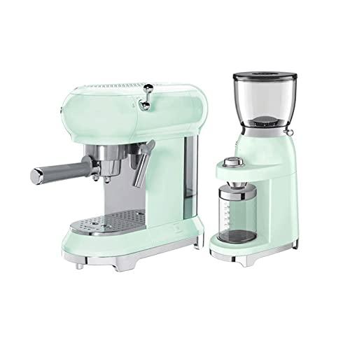 MERSHAO Maszyny do kawy, ekspres do kawy z funkcją piankową, filtr stalowy, 15bar biuro mała ekspres do kawy (Color : Green)