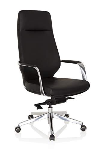 hjh OFFICE 600983 Silla ejecutiva Velvet Piel sintética Negro Silla de Oficina Elegante con Respaldo Alto