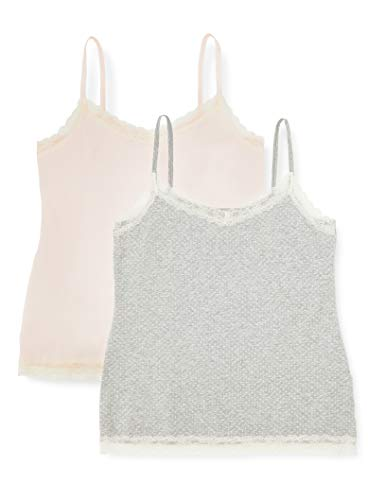 Marca Amazon - IRIS & LILLY Camiseta de Tirantes con Encaje Body Natural para Mujer, Pack de 2, Multicolor (Soft Pink/Grey), XL, Label: XL