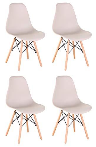 Un conjunto de cuatro sillas, estilo nórdico, moderno sillón de madera maciza, adecuado para sala de estar, cocina, oficina y otros lugares.