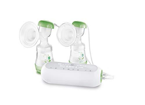 MAM 2in1 Doppelmilchpumpe, flexible Nutzung als Handmilchpumpe oder elektrische Milchpumpe und für beidseitiges Abpumpen, Pumpe für Muttermilch mit leichter Handhabung, grün