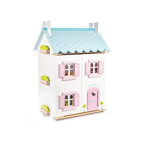 Le Toy Van H138 Blue Bird Cottage, Blaues Vogelhaus mit Möbel