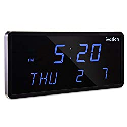 Ivation Big Oversized Digital Blue LED Calendar Clock with Day and Date - Shelf or Wall Mount(12 inches - Blue LED)