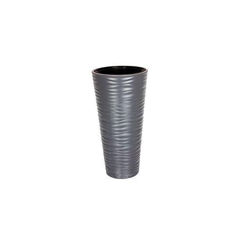 Form Plastic Pot de fleurs Sahara - Anthracite - Structure ondulée - Brillante - Hauteur : 57 cm