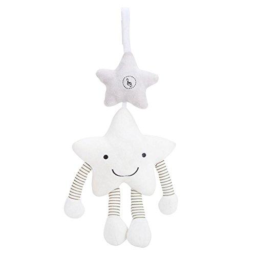 Dough.Q Spieluhr Kleiner Stern/Aufzieh-Spieluhr mit integriertem Spielwerk zum Aufhängen, Kuscheln und Greifen, Baby Einschlafhilfe, Babyzimmer Deko weiß für Babys und Kleinkinder ab 0+ Monaten