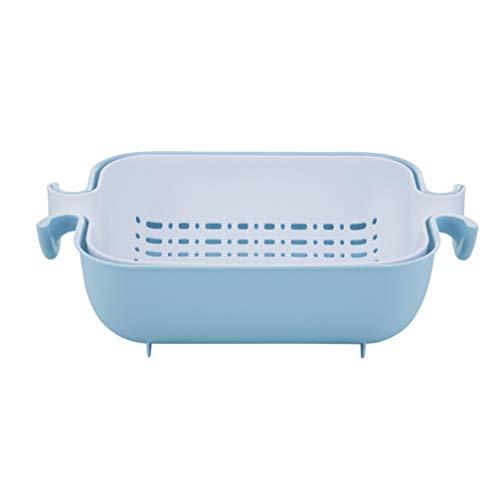 UPKOCH vaschetta da Cucina Doppio Strato Contenitore per stoviglie Multiuso rettangolo di stoccaggio