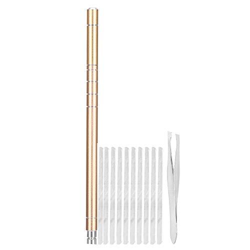 Kit de bolígrafo para grabado de cabello, cortador de afeitado de barba y cejas profesional de acero inoxidable, herramienta de peinado para modelar el vello facial y las rajas(Oro)
