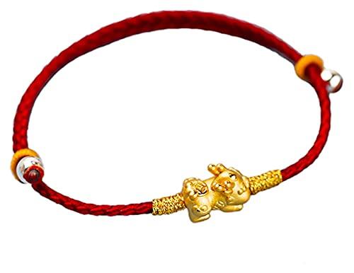 Feng shui riqueza pulsera plata esterlina chapada en oro pixiu rojo cuerdas pulseras para mujeres / hombres ajustable 925 afortunado feng shui regalos chinos atraen dinero buena suerte traer prosperid