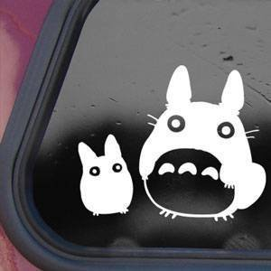 "SoCool - Totoro and Buddy Studio Ghibli - Vinyl 4"" wide (Color: WHITE) decal laptop tablet skateboard car windows stickers"