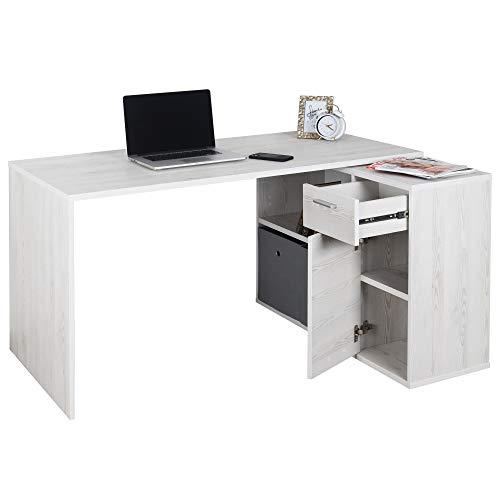 RICOO Schreibtisch Winkelkombination (WM083-WK) Holz Hell Kiefer (Modell- & Farbauswahl) Büro-Arbeitstisch Computertisch Eckschreibtisch Lowboard Akten-Schrank Schubkasten Regal-Ablagen