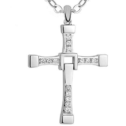 DSGYZQ Vatertag Halskette Herren 925 Sterling Silber Klassische Kreuz Anhänger Halskette mit Kette und beneigene Kiste