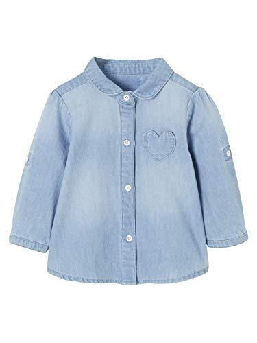 Vertbaudet Jeansbluse für Baby Mädchen, Used Bleached 74