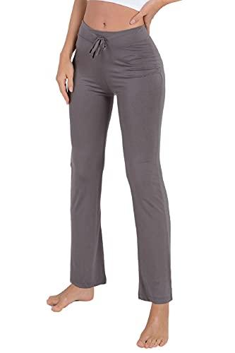 Voqeen Pantaloni della Tuta da Donna, Pantaloni Yoga Modale Sportivi Vita Alta Bootcut Pants con Coulisse Corsa Uscire Pantaloni Flare Lunghi a Zampa Elefante(Grigio Scuro,L)