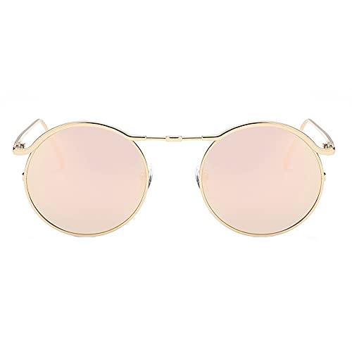 Yellowsomes Gafas de sol redondas de estilo punk clásico para mujer, lentes planas, gafas de sol, 197471