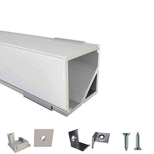 Rabando 5er Pack LED Alu Profile Eckprofil E90 für 12mm LED-Streifen mit einklickbarer Abdeckung Opal - 5 m