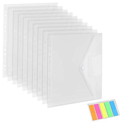JOLIGAEA 20PCS Carpetas Plastico A4, Carpetas Transparentes para Documentos, Fundas para Documentos A4 con Borde de 11 Agujeros, para Documentos, Certificados, Recibos y Comprobantes