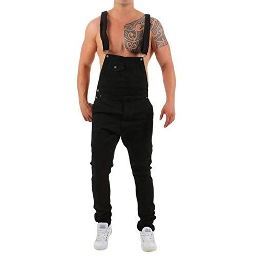 Herren Loch Denim Jeans Jumpsuit Yogogo Lange Strampler Bodysuit mit Tasche Straps Pants Sport Workout Slim Fit Leggins Sporthose Sexy...